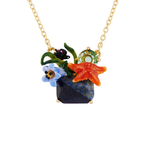 Starfish And Blue Stone Necklace | AHED3041