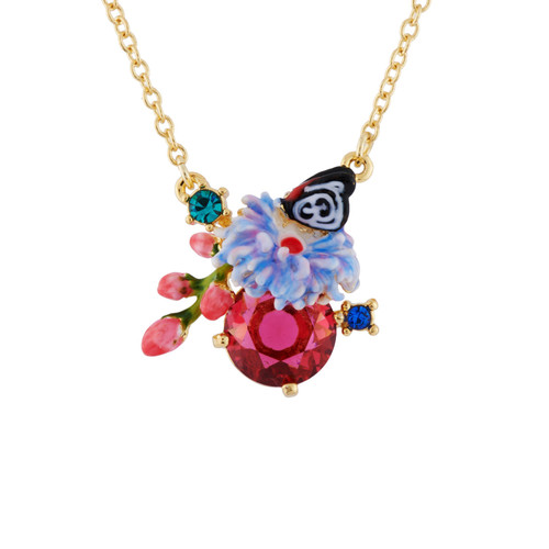 Red Stone And Butterfly Necklace | AHED3051