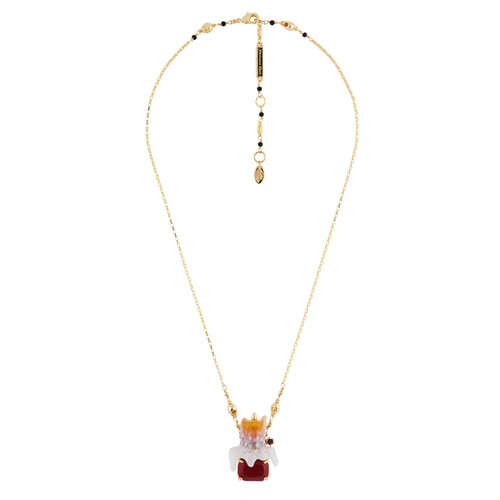 Burning Candle With Red Stone Necklace | AHOO3041
