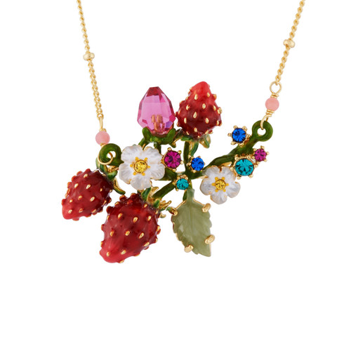 Strawberries, White Flowers And Branch Full Of Leaves  Necklace | AHPO3011
