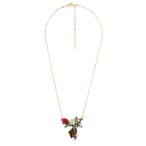 Grapes,Strawberry And Branch Full Of Leaves  Necklace | AHPO3031