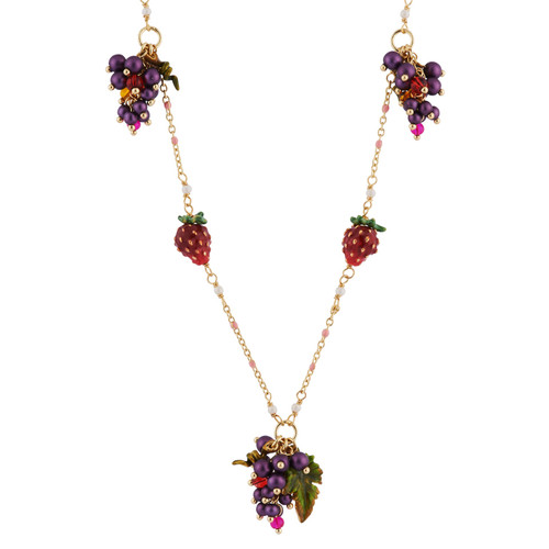 Long With Grapes,Strawberries And White Flowers Necklace | AHPO3051