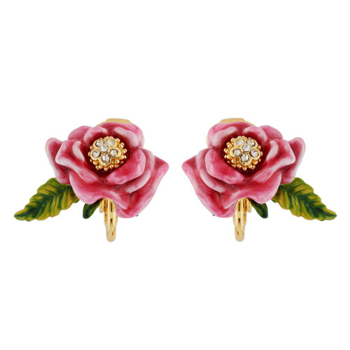 Pink Flower And Leaf Earrings | AHPV1121