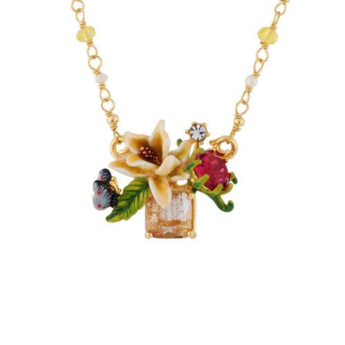 Adaptable With White Flower On Faceted Glass, Butterfly And Rhinestones Necklace | AHPV3081