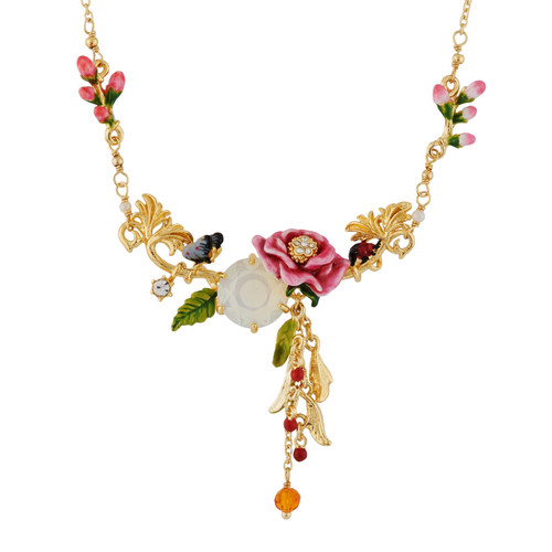 Pink Flower On Faceted Crystal, Butterfly And Berries  Necklace | AHPV3041