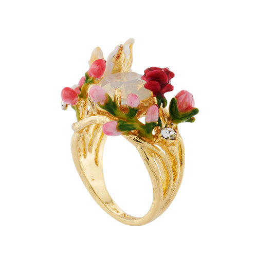 With Variety Of Flowers And Buds On Faceted Crystal Rings | AHPV601/11