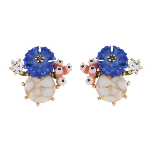 Corn Flower And White Stone Earrings | AIDC102/1