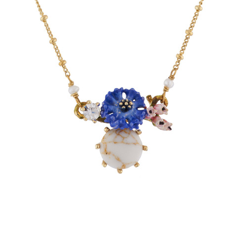 Corn Flower And White Stone Necklace | AIDC3081
