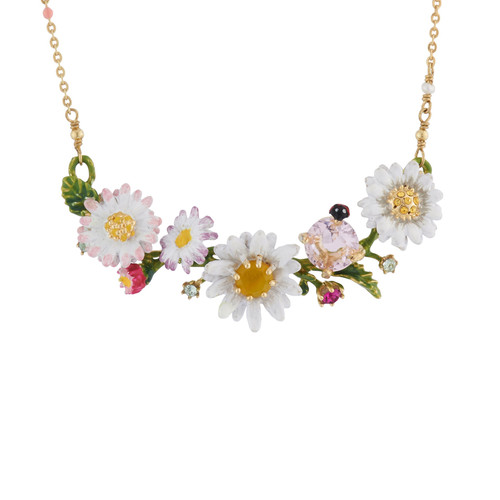 Branch Of Daisies And Faceted Crystal Necklace | AIPR3021