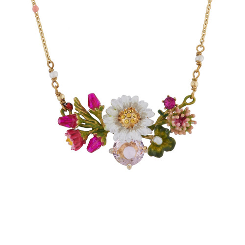 Daisy On A Flower Branch And Faceted Crystal Necklace | AIPR3031