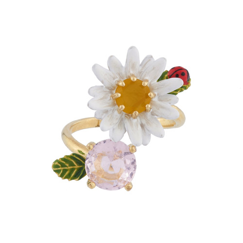 Daisy And Faceted Crystal Rings | AIPR6011
