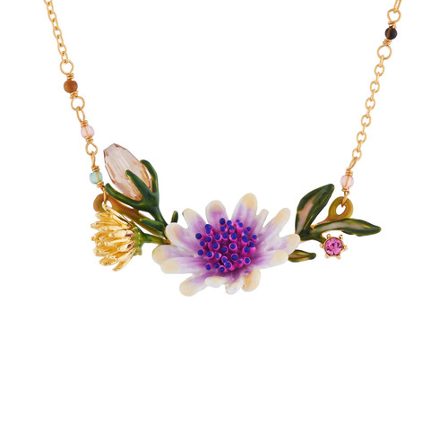Pink Flower With Purple Centre And Leaves Necklace | AISF3071