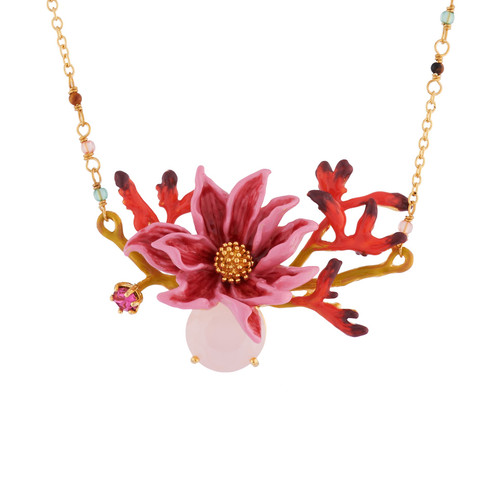 Pink Flower And Leaves With Pink Stone Necklace | AISF3061