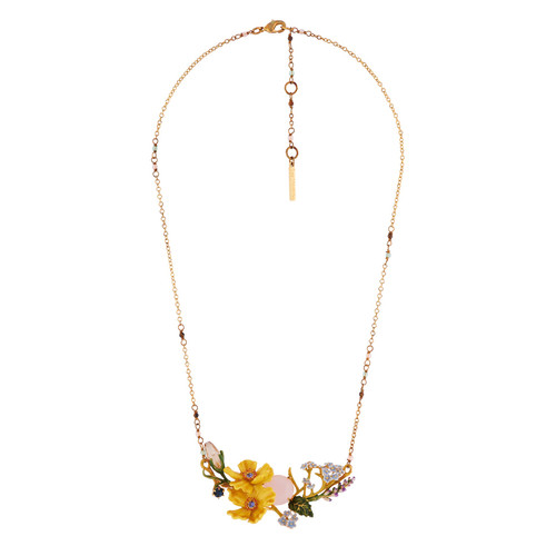 Blue Forget-Me-Not And Yellow Cosmos With Pink Stone  Necklace | AISF3041