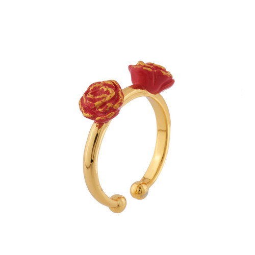 Beauty And Red Roses Set Of 2 Adjustable Rings | AIBE6011