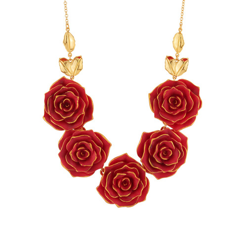 Beauty And The Beast Red Roses Statement Necklace | AIBE3171