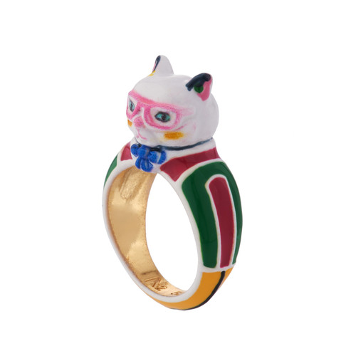 RED AND GREEN DRESS RETRO CAT RING    AINA602/1