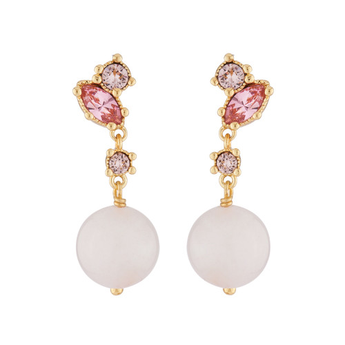 Dangling Clip On With Quartz Pearl And Pink Rhinestone Earrings   AJPF104