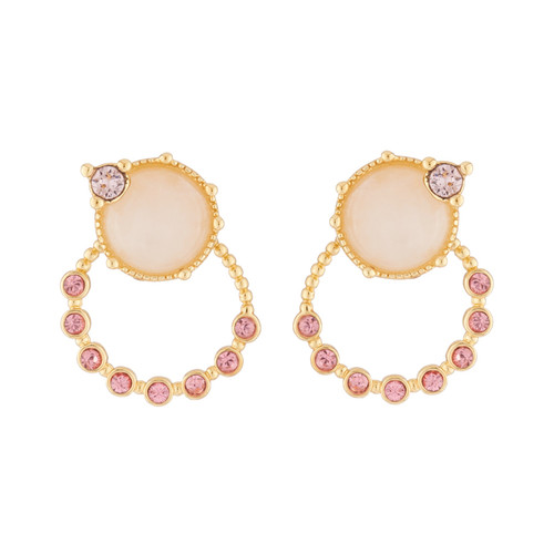 Ears With And Pink Tone Earrings | AJPF116