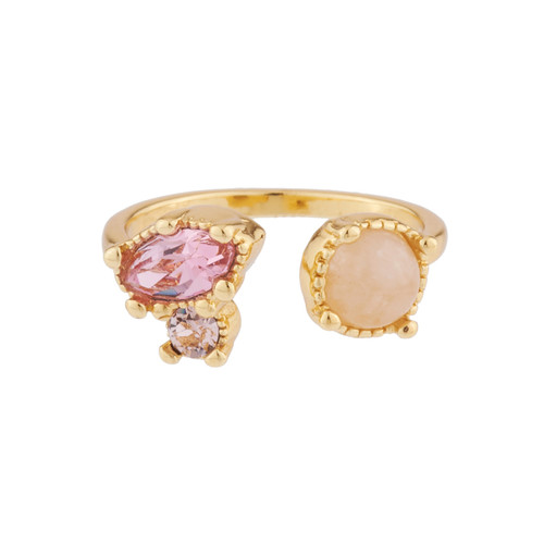 You And I With Quartz And Pink Rhinestone Rings | AJPF601