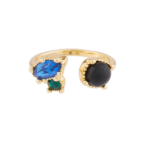 You And I With Onyx And Blue And Green Rhinestone Rings | AJPF603