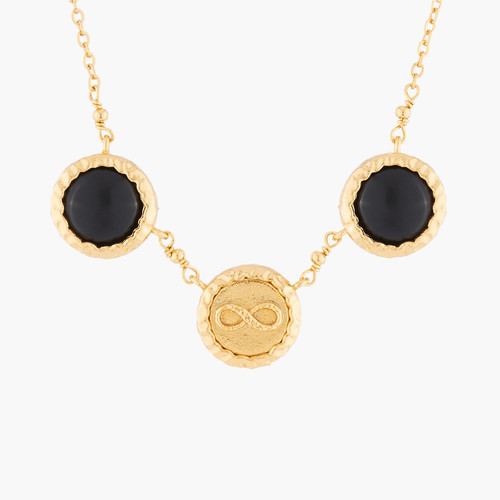 Infinity And Black Onyx Pendant Necklace | AKBC302