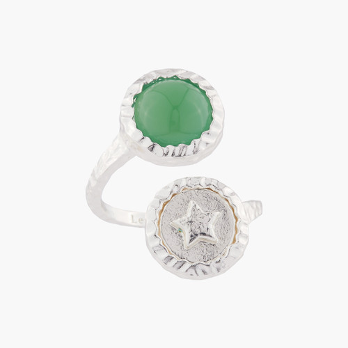 Star And Green Agate Adjustable Rings | AKBC613