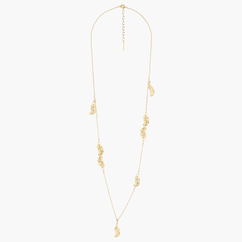 Golden Swan Feathers Long Necklace   AKCY306