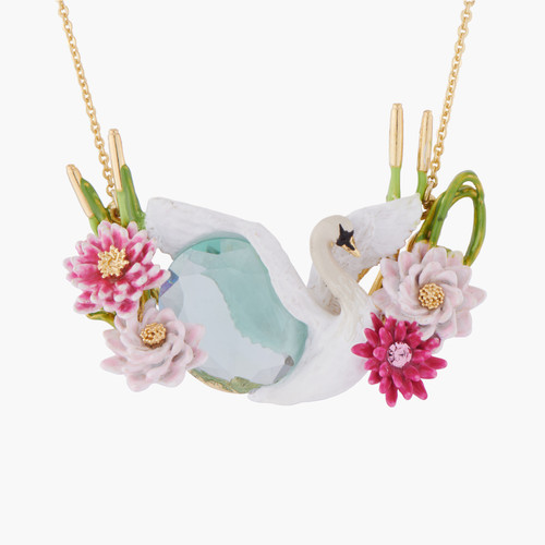 Flying Swan Among Water Lilies On A Blue Stone Collar Necklace   AKCY304