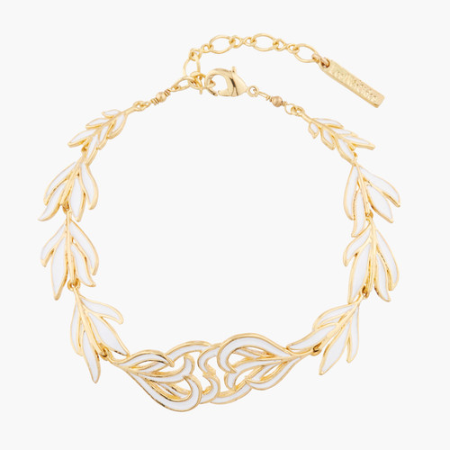 White And Gold Swan Feather Bracelet | AKCY204