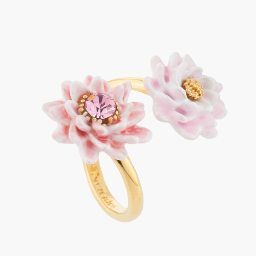 Pink And Golden Water Lilies Adjustable Rings   AKCY601
