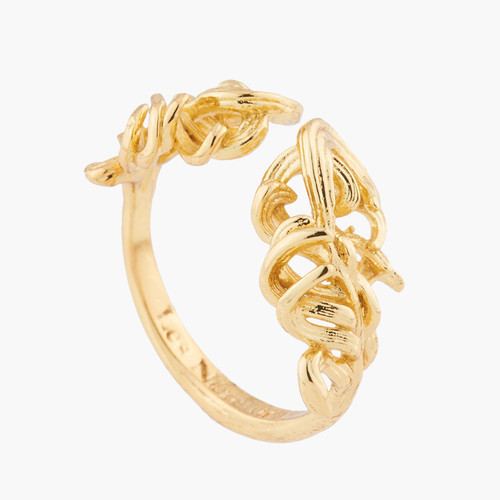 Golden Swan Feather Adjustable Rings   AKCY603