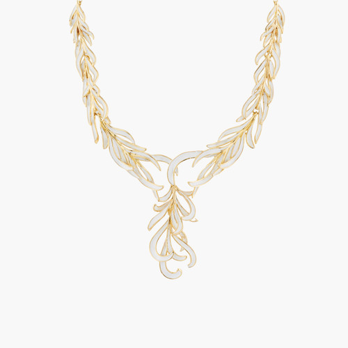 Gold And White Swan Feather Collar Necklace   AKCY307