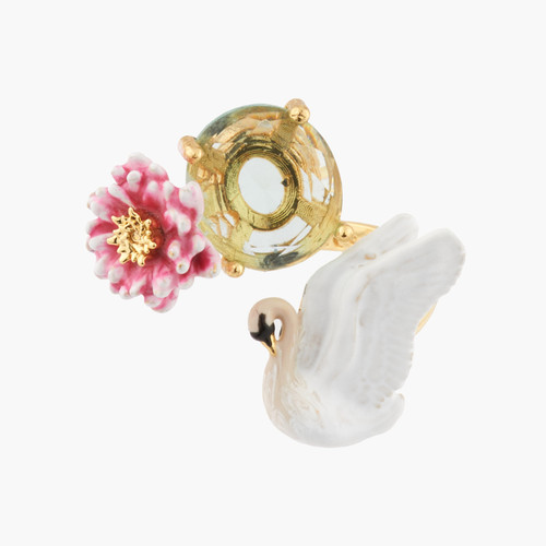 White Swan And Pink Water Lily Adjustable Rings   AKCY602