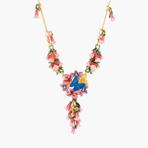 Royal Blue Bell And Common Heath Pendant Necklace   AKEP304