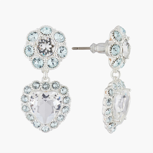 Heart And Faceted Crystals Dangling Clip-Ears Earrings | AKJV1022