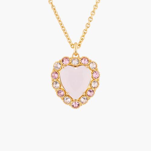 Pink Heart With Crystals Shades Of Pink Pendant  Necklace | Akjv3021