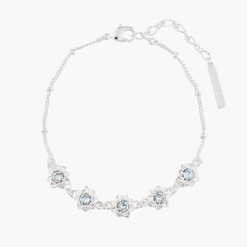 Small Flowers And Crystals Thin Chain Bracelet | AKJV202