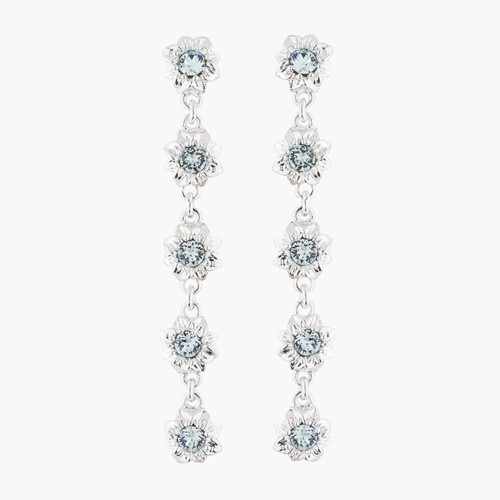 5 Flowers And Faceted Transparent Crystals Dangling Earrings | AKJV105