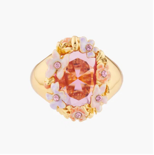 Pink And Pale Violet Flowers On A Faceted Stone Cocktail  Rings | Akjv6011