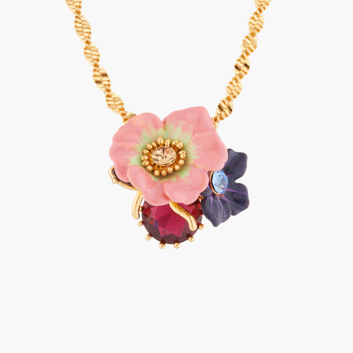 Rose And Apple Blossoms On Faceted Stone Pendant  Necklace | AKPC302
