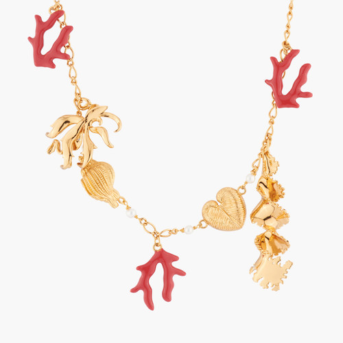 Shells, Coral, Seaweed And Pearl Collar Necklace | AKTT303