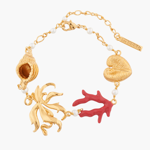 Shells, Coral, Seaweed And Pearl Chain Bracelet | AKTT202