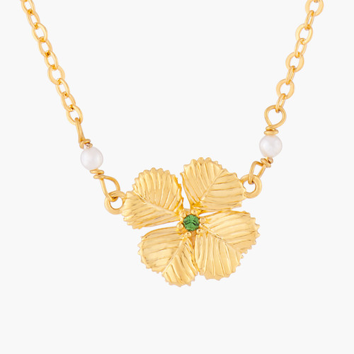 Clover And Crystal Pendant Necklace   ALFC3011