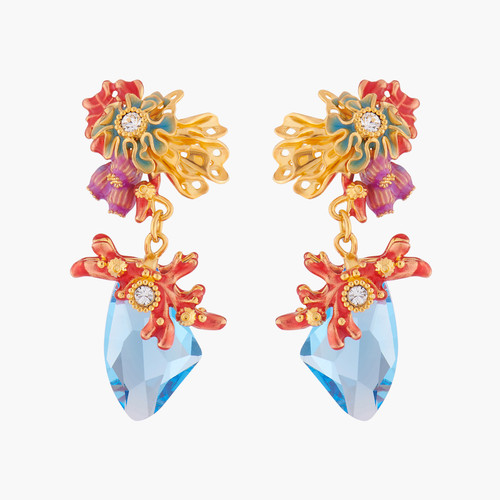 Coral And Blue Lagoon Crystal Earrings | ALPC1041