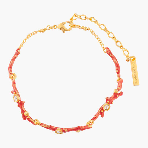 Red Corals And Crystals Thin Bracelet | ALPC2041