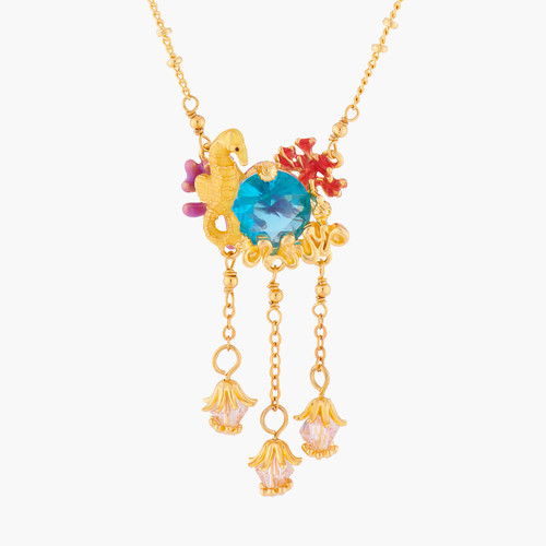 Seahorse And Blue Lagoon Crystal Pendant Necklace | ALPC3021