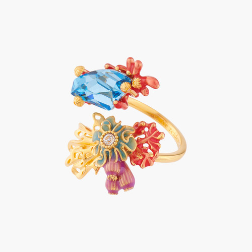 Corals And Blue Lagoon Crystal Adjustable Rings | ALPC6041