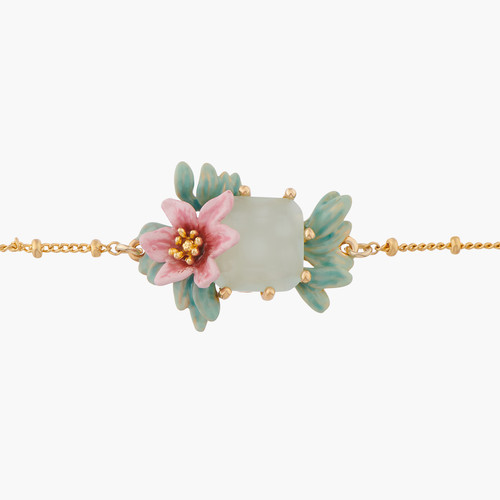 Pink Oleander Flower And Square Stone Chain Bracelet | ALPE2051