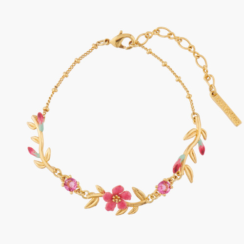 Pink Oleander Flowers And Buds Chain Bracelet | ALPE2031